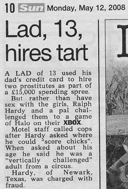 Detail from The Sun newspaper of the headline Lad, 13, Hires Tart