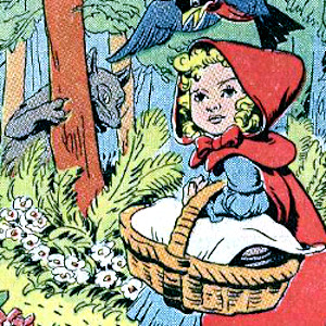 Comic image of little red riding hood.