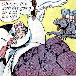 Comic panel of the wolf attacking little red riding hood's grandmother.