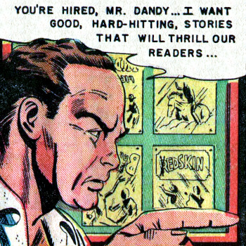 Comic image of a magazine editor commissioning a writer to write hard-hitting stories for his readers.