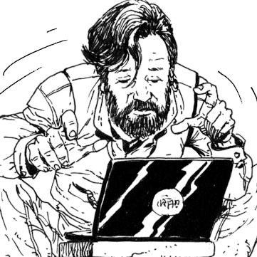 Comic art by Carlos Ezquerra of Jonathan Crossfield writing on a laptop.